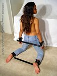 Black girl spreader bar bondage