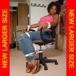 Black girl chair-tied in jeans